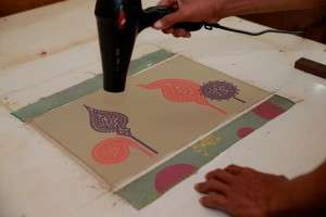 Silk screen drying